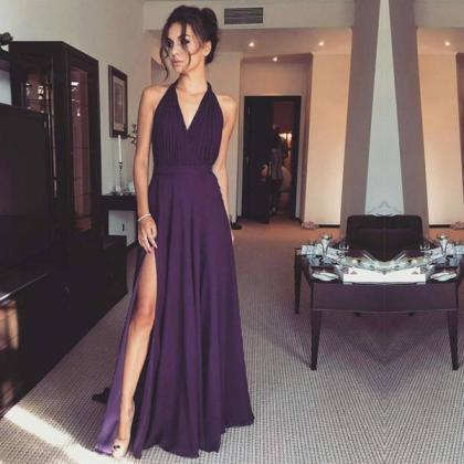 Simple Prom Dresses, Sexy Front-Spl..