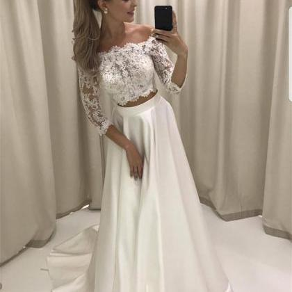 White Lace Prom Dresses, Two Pieces..