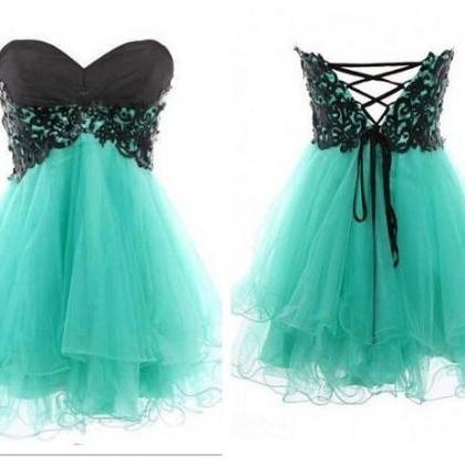 Mint Prom Dresses Lace Ball Gown Sw..