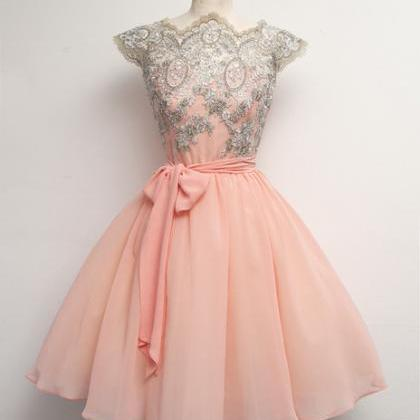 Custom Made Pink Lace Prom Dresses,..