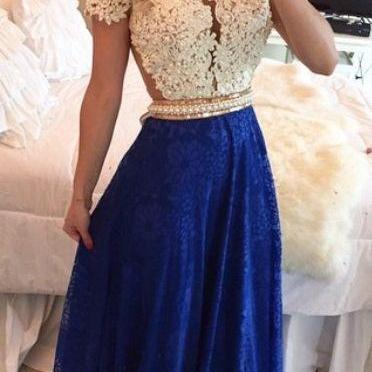 2016 Short Sleeves Lace Long Prom D..