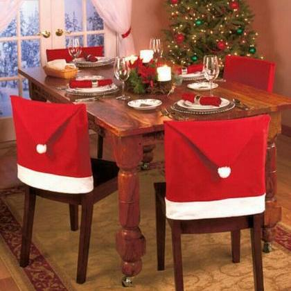 4PCs Santa Claus Hat Chair Covers C..