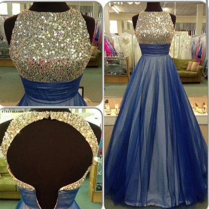 Gorgeous Blue Tulle Prom Dress,A-li..
