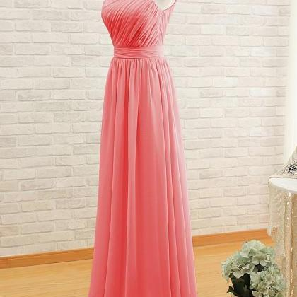 Simple Long One-Shoulder Chiffon Dr..