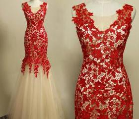 Red Lace Long Prom D..