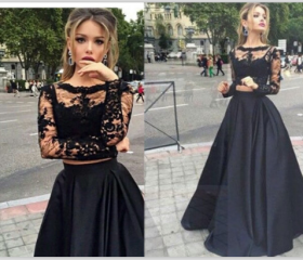 Long Sleeves Black Lace Prom Gowns,High Neck