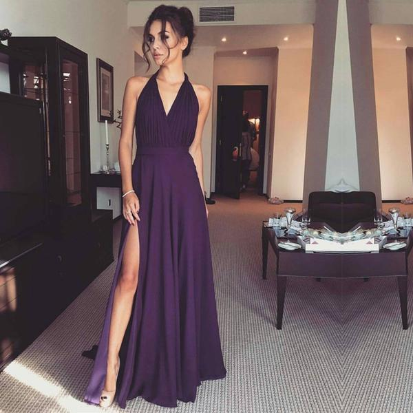 Simple Prom Dresses, Sexy Front-Split Prom Dress, Halter Modern A-line Prom Dress, Purple Prom Dress, Woman Evening Dress, Formal Dresses