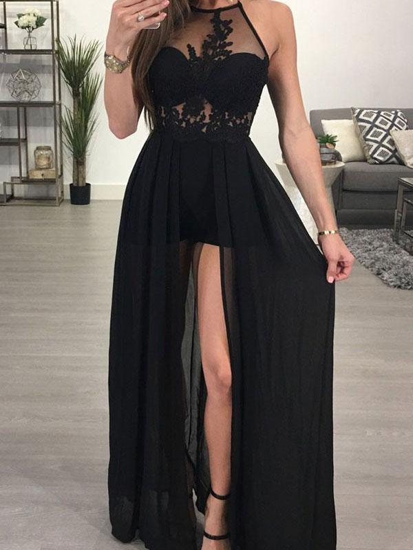 High Neck Prom Dresssexy Black Prom Dresseshigh Quality Graduation