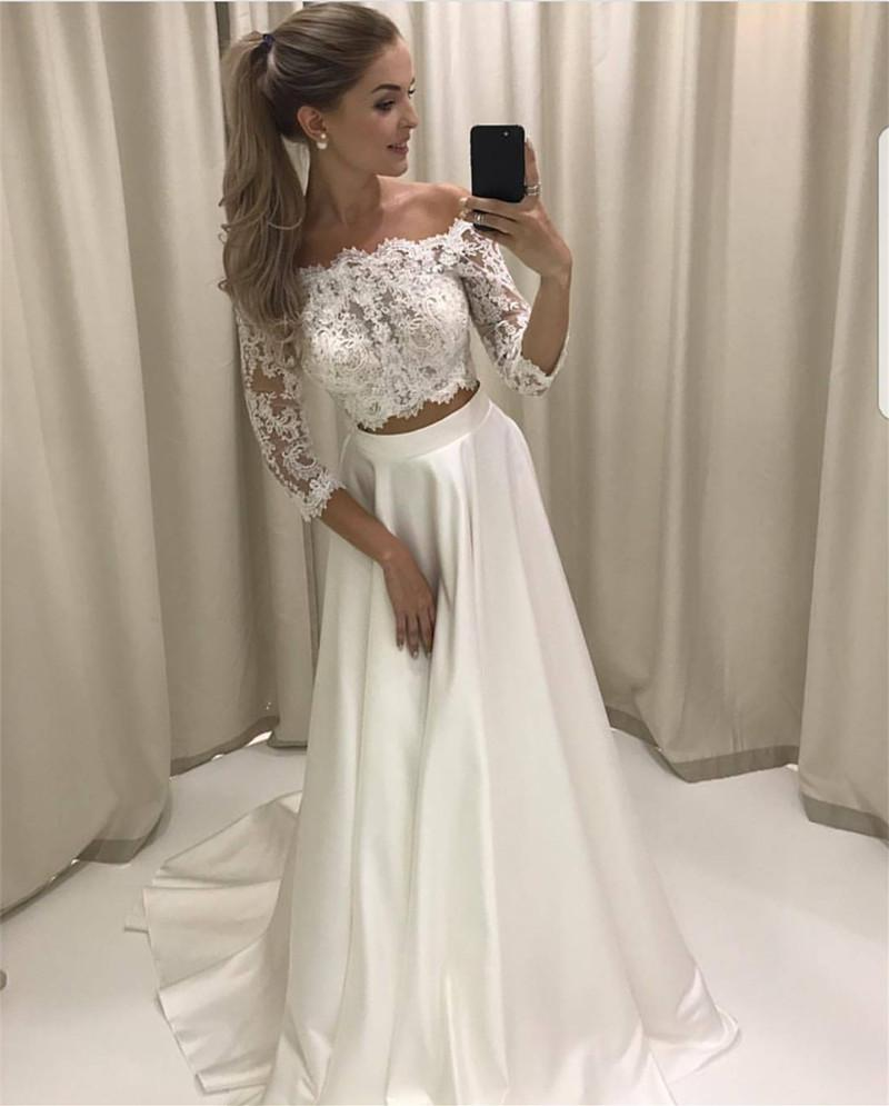 White Lace Prom Dresses, Two Pieces Prom Dresses, Lace Sleeves Prom Dresses, A-line Long Prom Party Dresses, Senior Prom Dresses