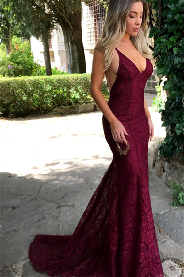 57df888b7c4 Amazing Lace Maroon Prom Dresses 2018