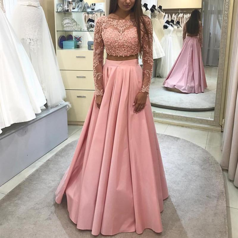 Elegant Lace Long Sleeves Ball Gowns Prom Dresses Two Piece, 2 ...