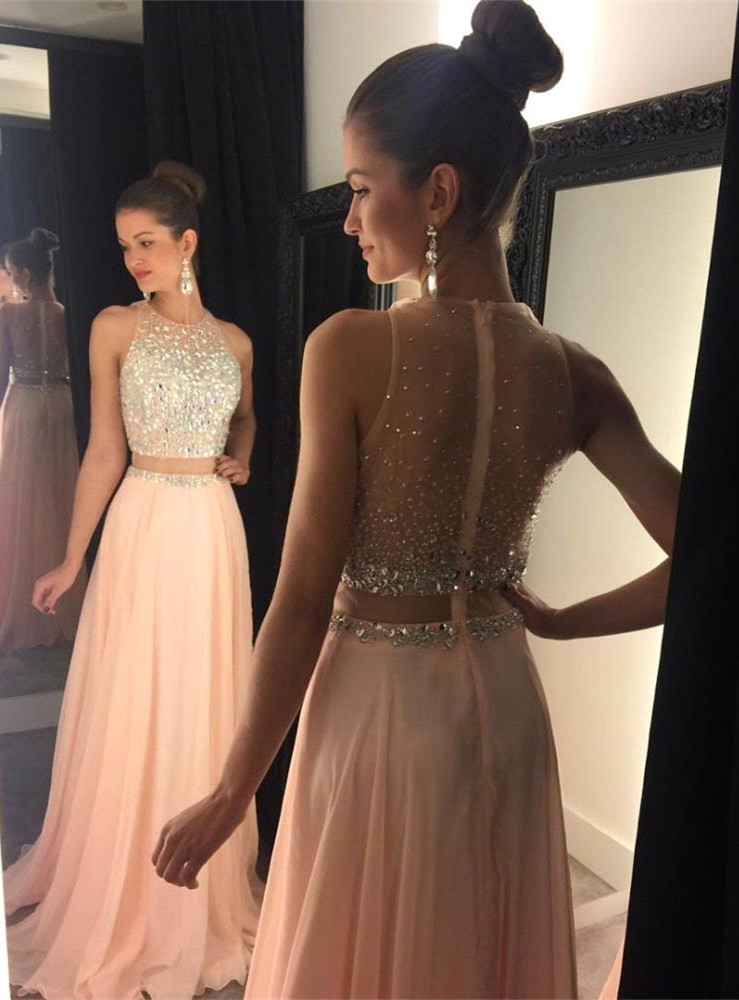e276b817cfa3 Blush Prom Dresses, 2 Pieces Prom Dress, Chiffon Prom Dress, Sexy Prom Dress