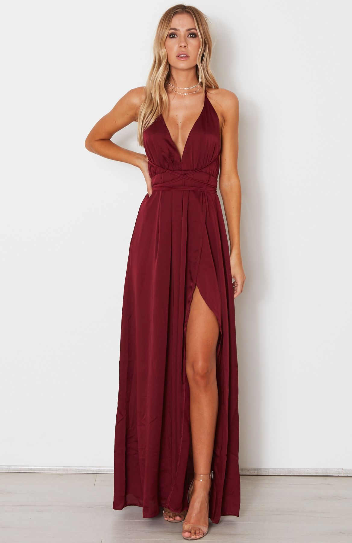 a6babc93 Halter Neck Straps Deep V Neck Burgundy Prom Dresses with High Side Split,  Sexy Chiffon