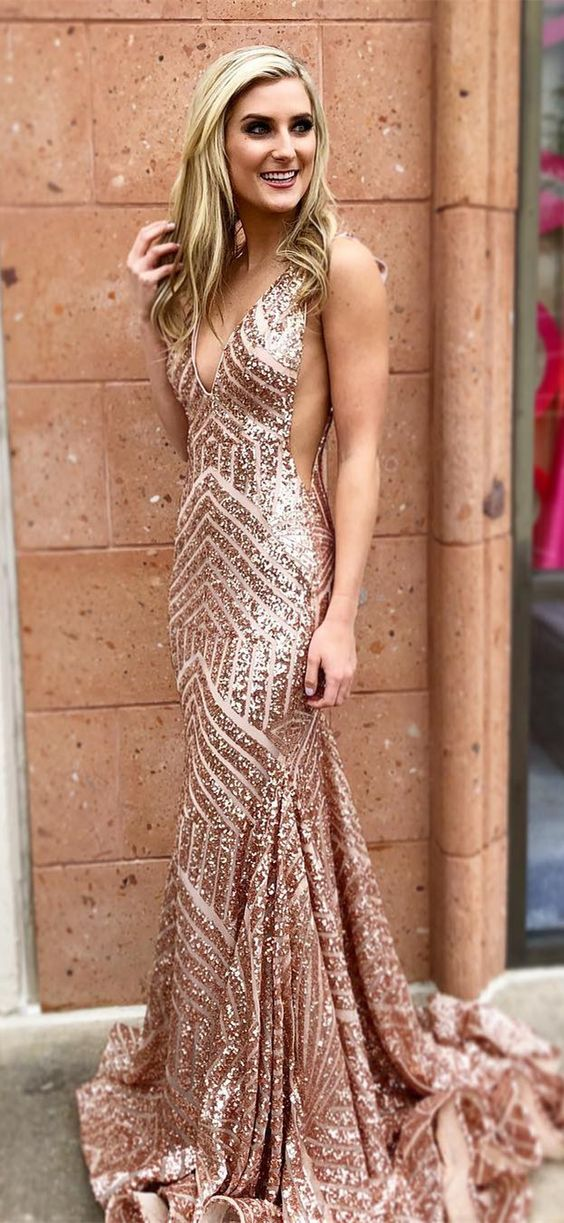 2079b6f175 Sparkly Rose Gold Sequins Mermaid Prom Dresses Long Woman Party Dresses