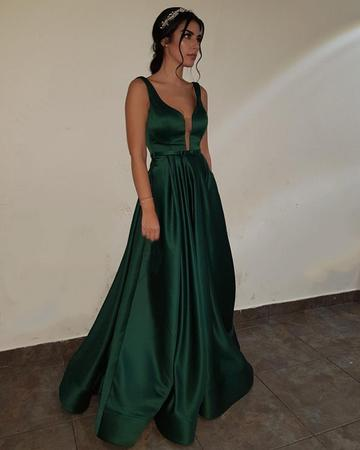 ac7b94a224c2 Elegant Dark Green V-neck Satin Long Prom Dresses Sexy Backless Evening  Gowns