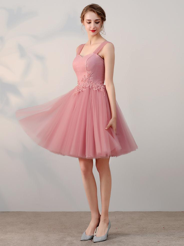 0101a60af2 Chic A-line Pink Tulle Lace Applique Straps Short Prom Dress Simple Homecoming  Dress