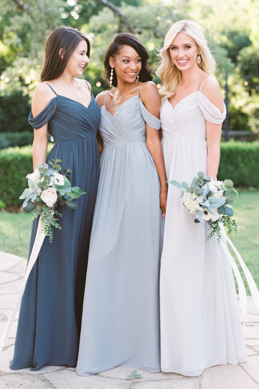 f80f54c729b2 Elegant Off-the-shoulder Long Blue Bridesmaid Dress Chiffon Dresses ...