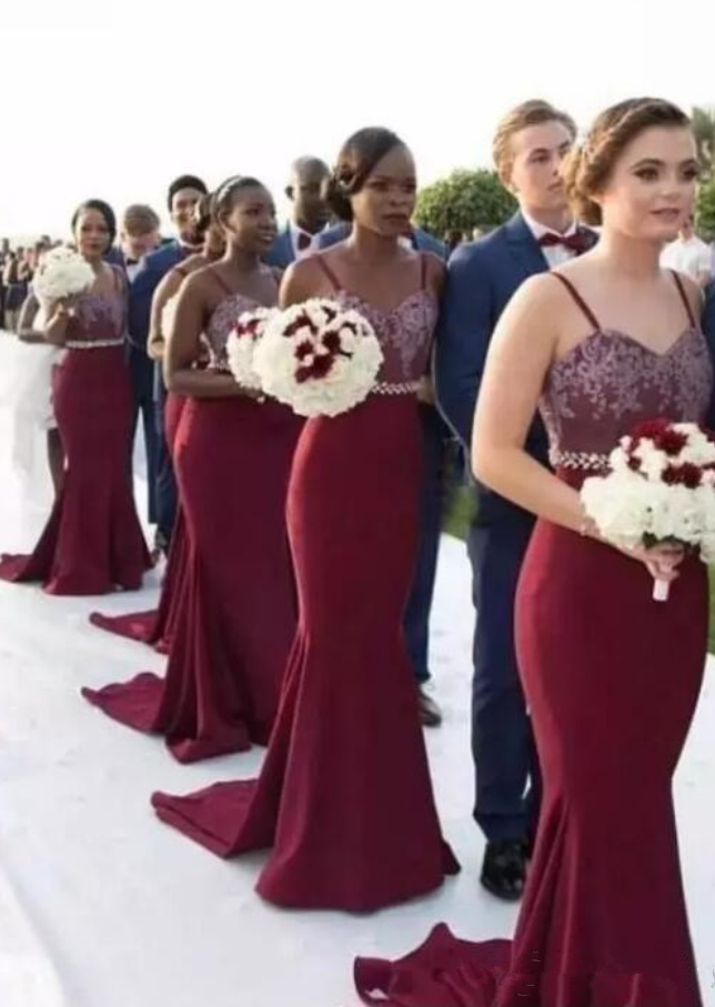 bb25fa30961 Custom Made Burgundy Mermaid Long African Bridesmaid Dresses Maid Of Honor Gowns  Wedding Guest Dresses Cheap