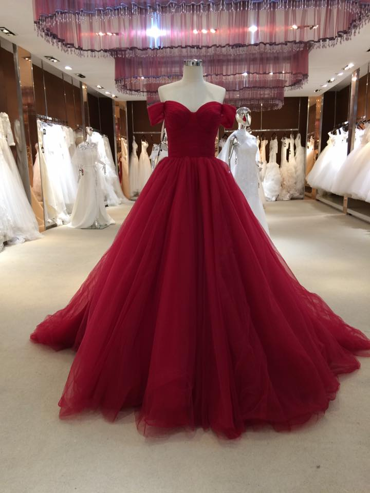 d056af00372 Sexy Off Shoulder Burgundy Tulle Ball Gown Prom Dress Evening Dresses