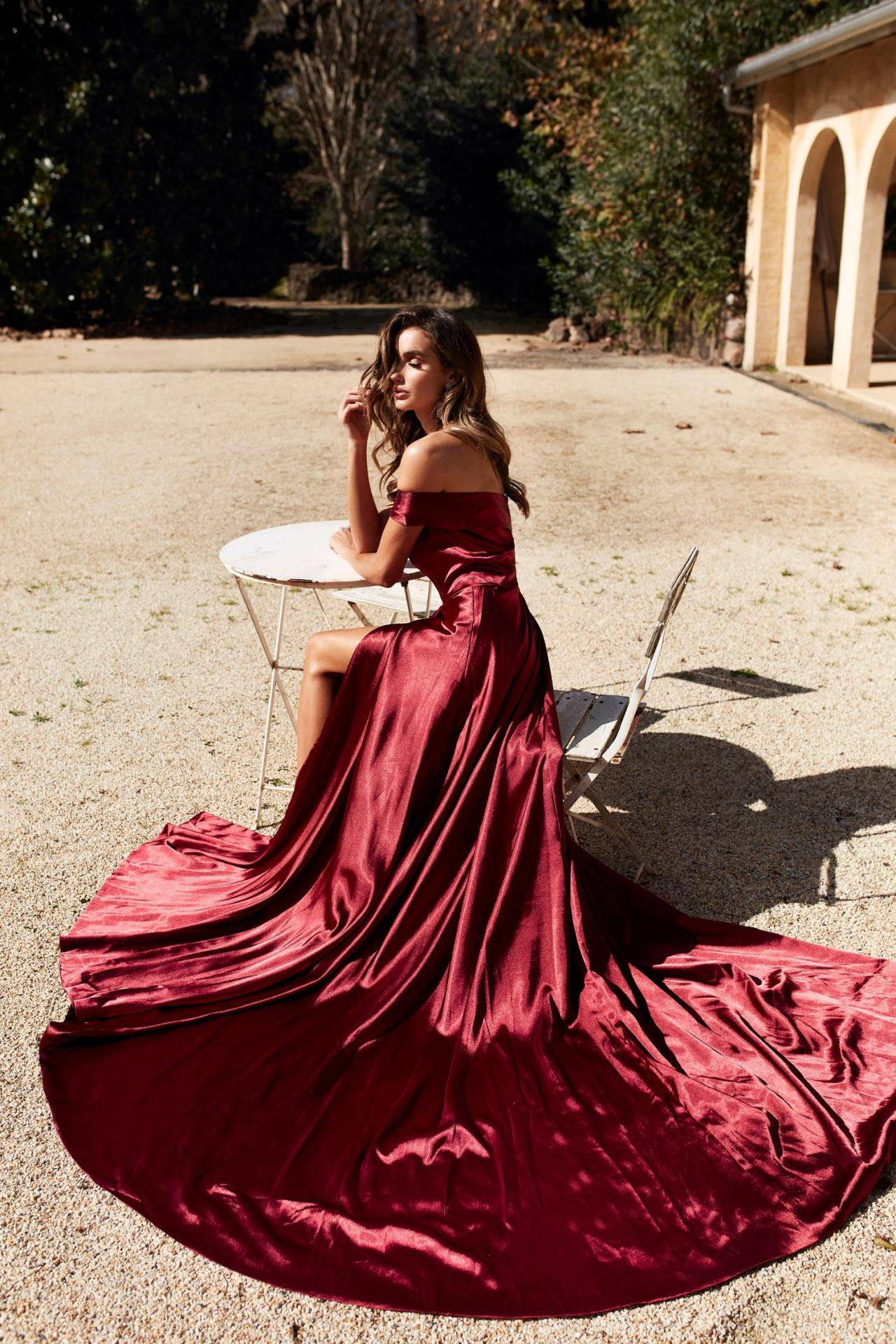 71c19a6efc926a Off The Shoulder Burgundy Silk LIke Satin A-line Prom Evening Dress Formal  Gown on Luulla