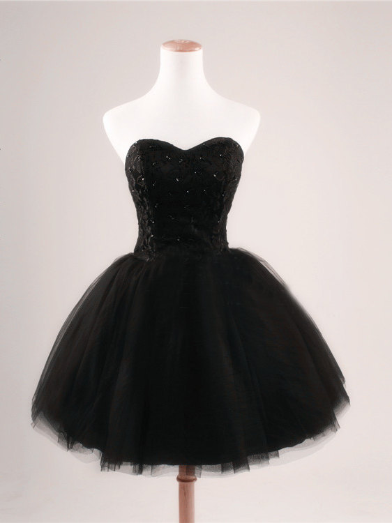 2015 Black Prom Dress Strapless Ball Gown Tulle Party Dress Short Celebrity dresses Evening dresses Homecoming Dresses Sexy Cocktail dresses