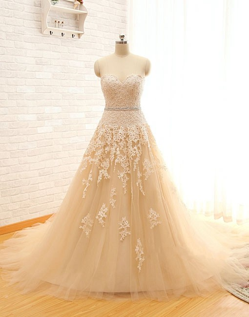 Real Image Sweetheart Lace Tulle Wedding Dresses 2015 A-line Bridal Gowns Vintage Wedding Dress Champagne Wedding Gowns, Bridal Dresses, Vestido de Novias, Weddings