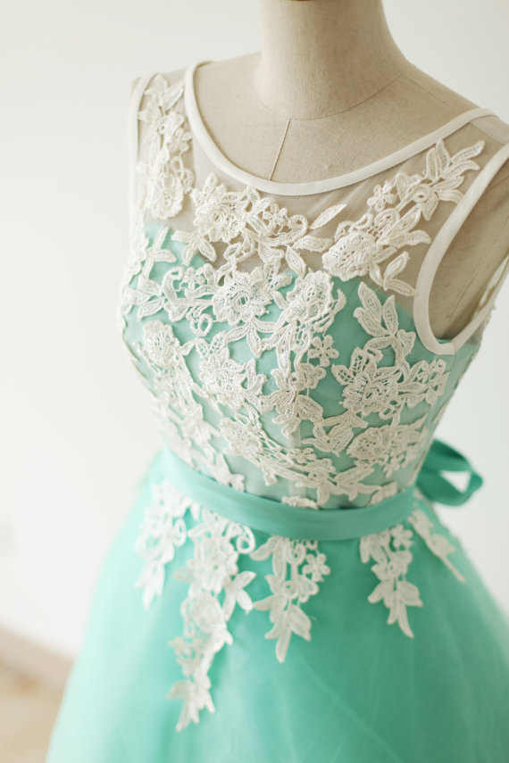 9b4f5b47238c Custom Made A Line Round Neck Short Lace Prom Dresses, Mint Color  Bridesmaid Dresses,