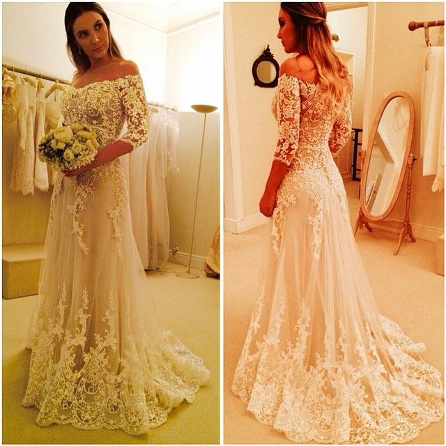 Wanda Borges Bridal Wedding Dresses Vestido De Noiva Com Manga 2015 A Line  Off the Shoulder Long Full Sleeves Lace Wedding Dresses 09b18f0f857b