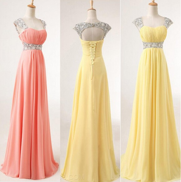 Custom Made Cap Sleeve Sweetheart Sequins Yellow/Pink Chiffon Prom Dresses 2015, Formal Dresses, Evening Dresses, Party Dresses, Prom Dresses 2015, Bridesmaid Dresses