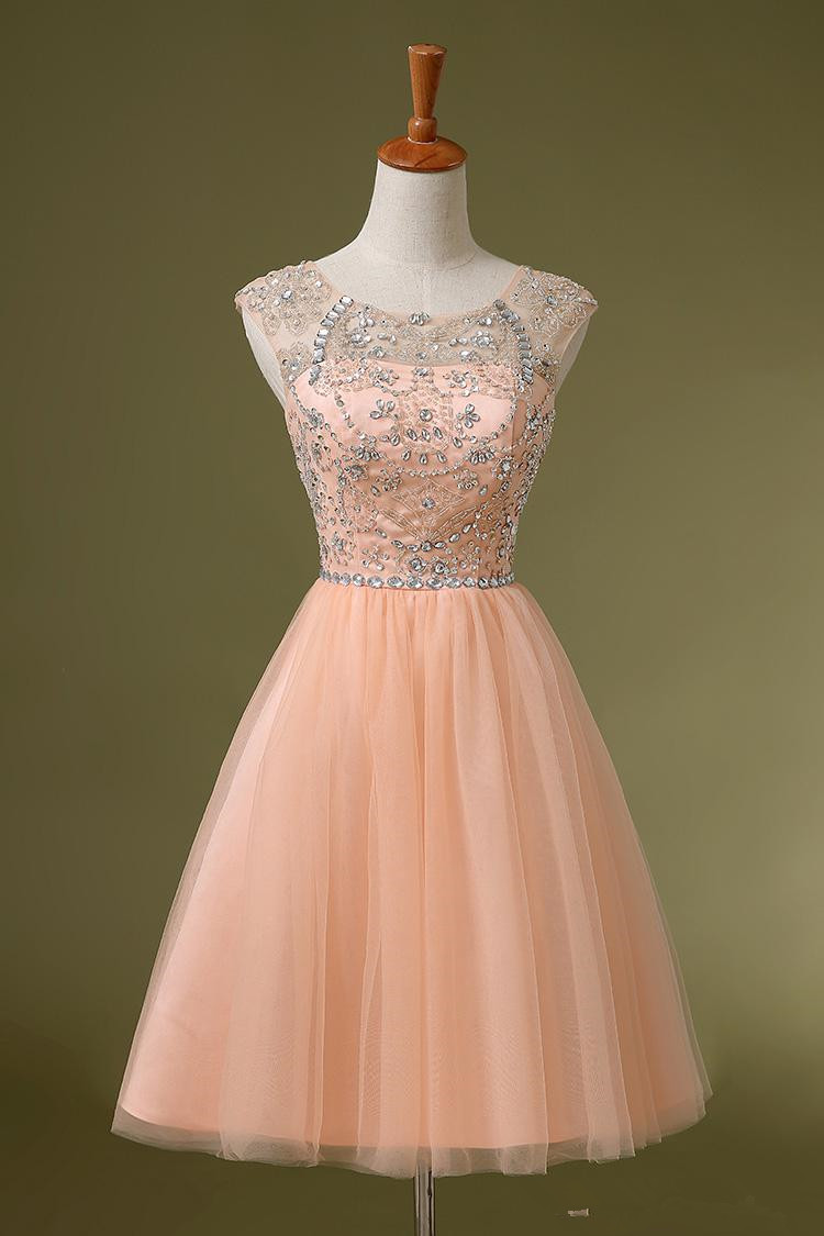 d70b3f7a945a Custom Made Peach Beaded Short Prom Dresses, Lovely Homecoming Dresses,  Beautiful Graduation Dresses,
