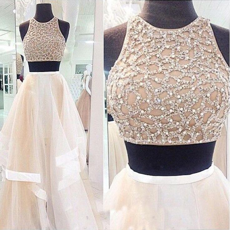 formal beaded crop top two piece prom dress sleeveless 2015 prom