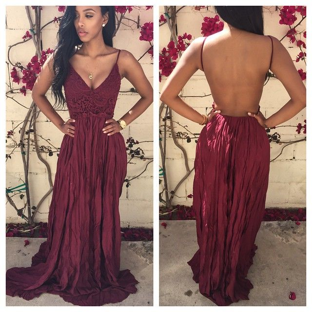 a004f5d866d Sexy Spaghetti Straps Backless Floor-Length Charming Bugundy Prom Dresses