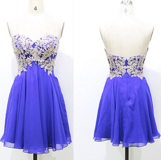 0c3ab67af41e Royal Blue Lace Appliques Chiffon Homecoming Dresses,A-Line Graduation  Dresses,Homecoming Dresses