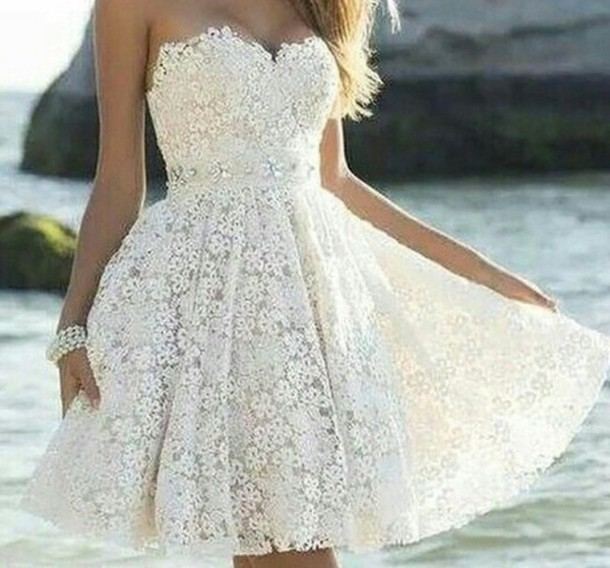 Custom Made A Line Strapless Lace Prom Dresses, White Lace Homecoming dresses, Short Formal Dresses, Lace Party Dresses, Short Prom Dresses, Lace Graduation Dresses,Lace Cocktail Dresses, White Prom Dresses