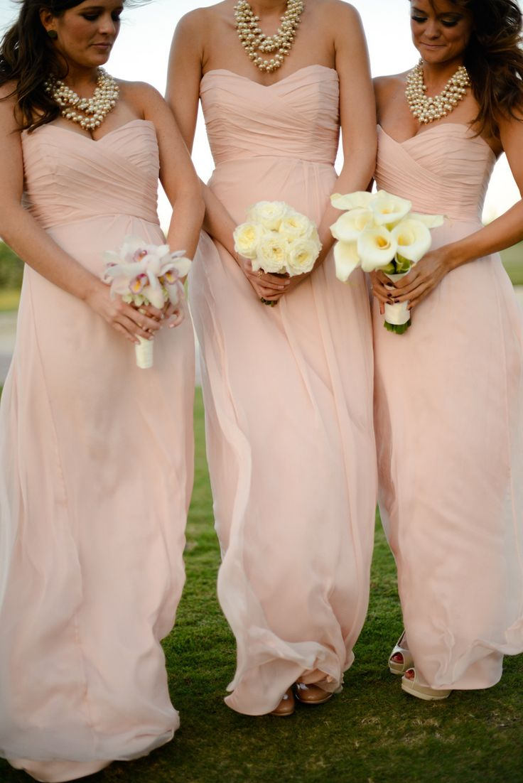 Elegant Sweetheart Floor Length Pearl Pink Bridesmaid Dresses ... fbe0da4d2b83