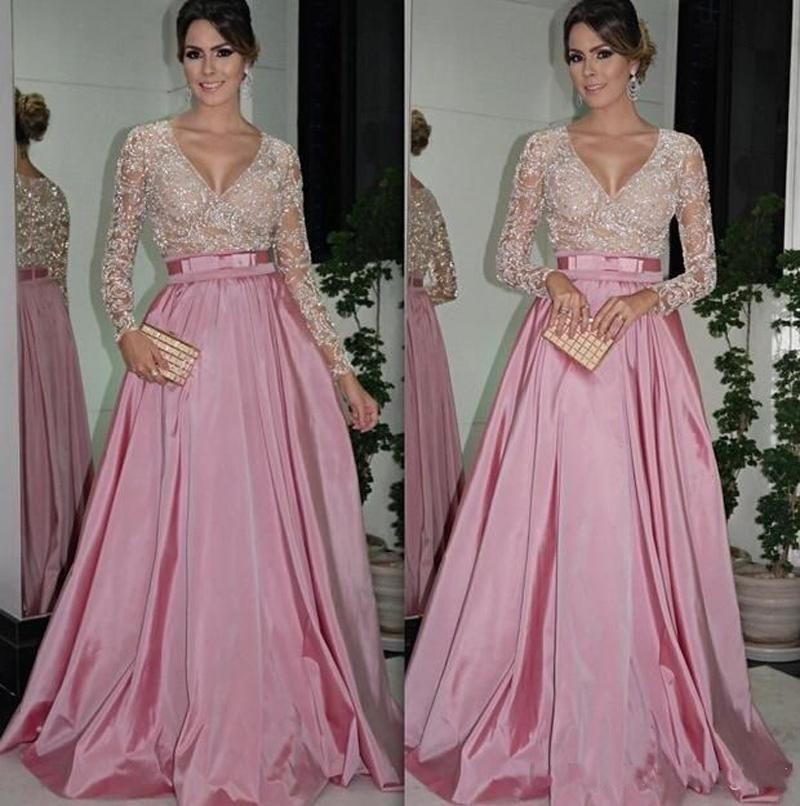 cac21b289a6 Sexy Long Sleeve Prom Dresses Lace Eevening Dress Sequin Dubai Style A Line Formal  Arabic Evening