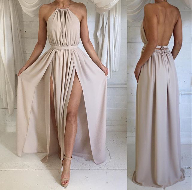 d7ac9f57db7ac Long Chiffon Prom Dress Backless Evening Dress Sexy Open Back Spaghetti  Strap Party Dress