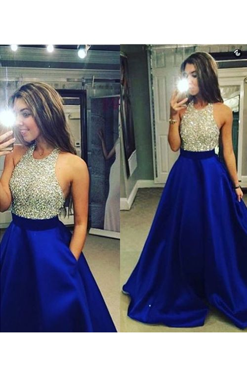 178ddecb96c Sparkle A-Line Halter Beading Empire Royal Blue Satin Prom Dresses On Sale
