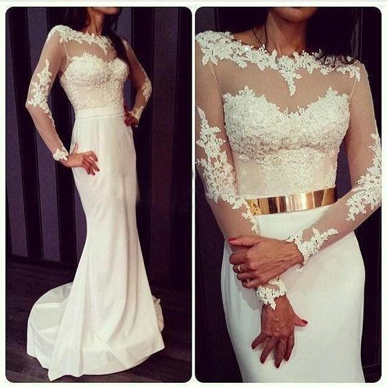 2016 Princess White Lace Long Sleeves Prom