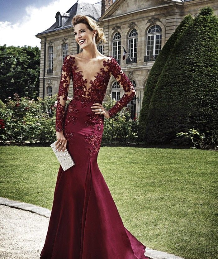 4cb53cac9bd7 Wine Red Evening Dresses, V Neck Prom Dresses, Bling Bling Party Dresses,  Long
