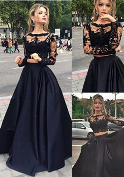 20d764cd21dc Sexy Black Lace Long Sleeve 2016 Prom Dress, Two Pieces Long Evening Gown, Lace Evening dresses, Black Lace Prom Dresses, Black Party Dresses, ...