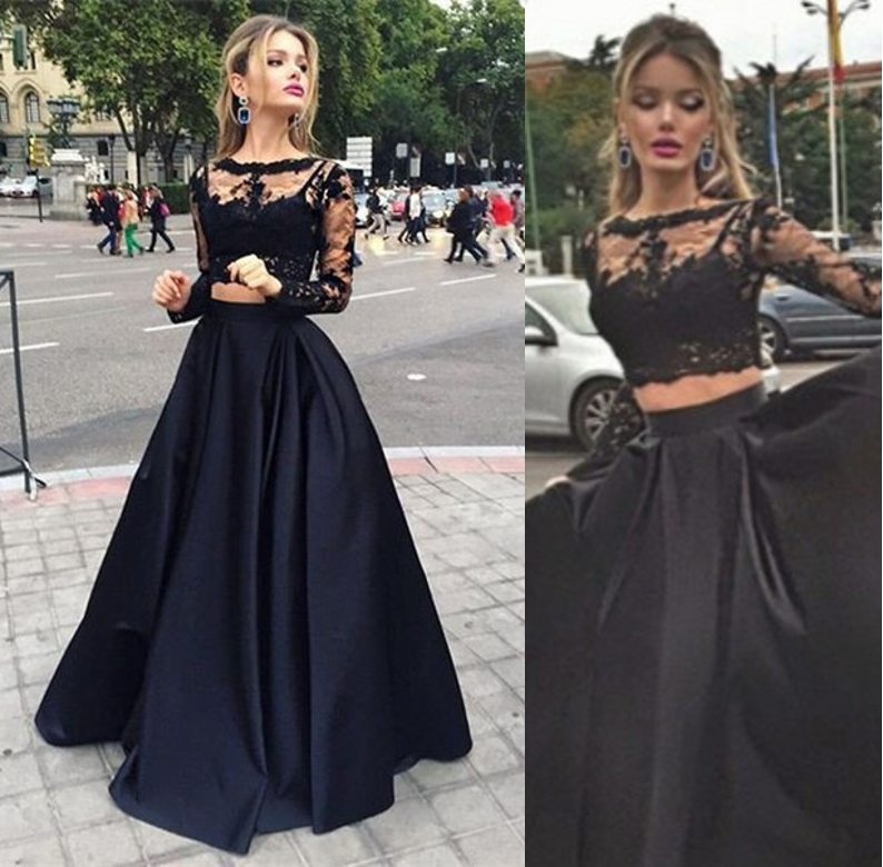 Long Sleeves Black Lace Prom Gowns, High Neck Two Pieces ...