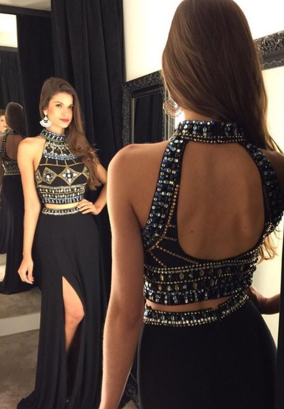 2016 Two-Piece Prom Dresses, High Neck Prom Dress, Open Back Prom ...