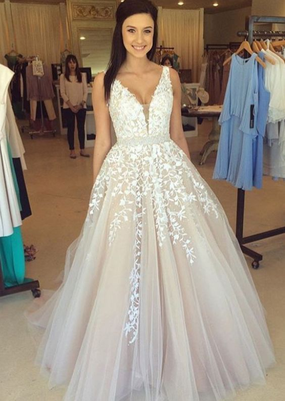 4feae386c659f Charming Prom Dress,V-Neck Prom Dress,Appliques Prom Dress,Tulle Prom
