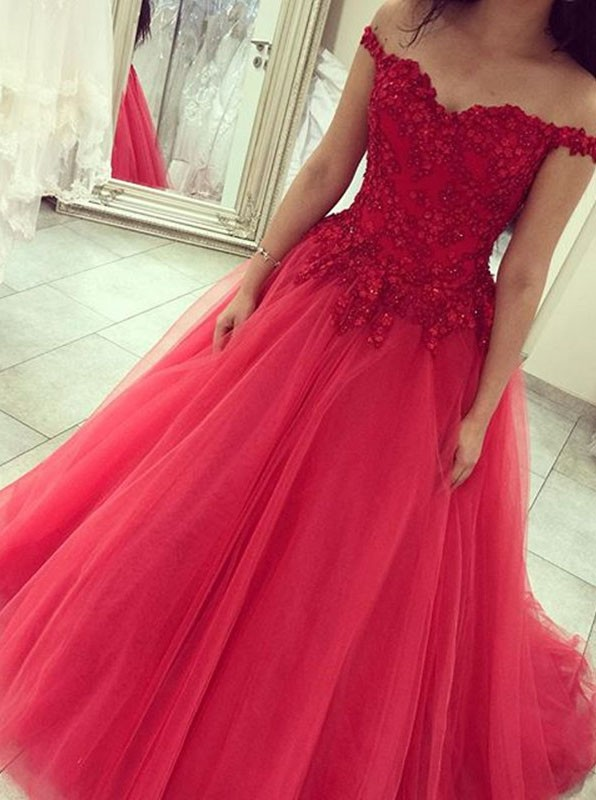 44a86c75db3 2016 Chic Ball Gown Off-shoulder Sweep Train Tulle Watermelon Quinceanera Prom  Dress With Beading