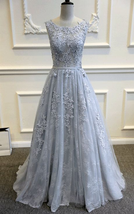 Gray Blue Lace Wedding Dress Romantic Wedding Dresses Wedding