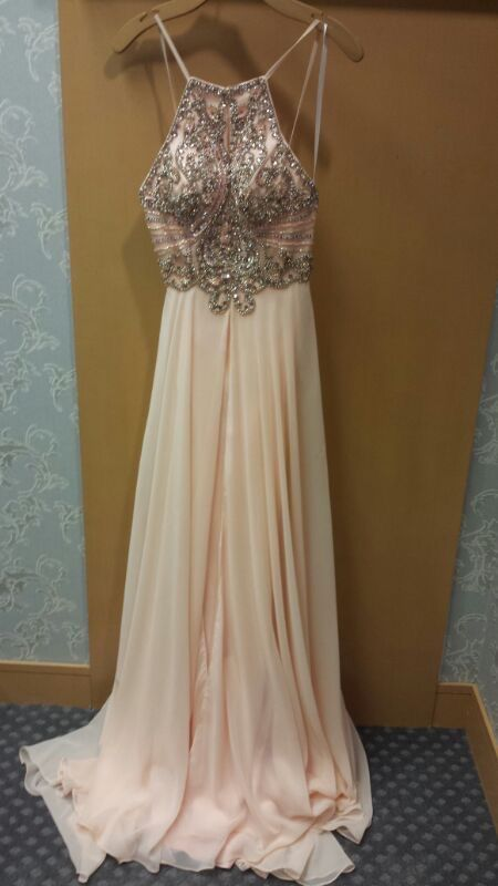 0f928a500e Light Pink Beaded Ferreting Backless Sexy Long Prom Dress