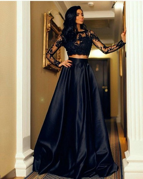 32f8c964095 Fashion Black Lace Long Sleeve Prom Dresses