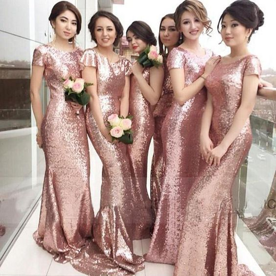 Sparkly Rose Gold Sequins Bridesmaid Dresses 2016 Jewel Short Sleeves Mermaid Dress Long