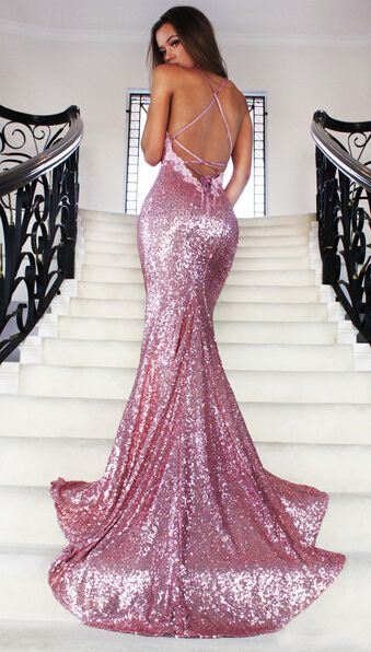 6bd964ce20 Rose Gold Sequin Mermaid Prom Dresses